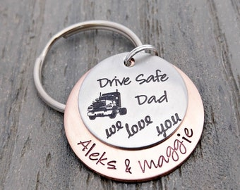 Meibai Trucker Dad Gift Drive Safe Hand Stamped Tag Keychain Personalized Men Gift