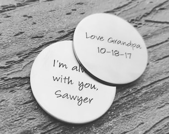 Personalized Pocket Coin - Lucky Coin - Gift for him - Memorial Gift for Men - Wedding Token - Personalized Token - Groomsmen Gift - Dad