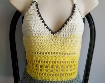 Crochet Halter Top M/L grey-creme-yellow ombre