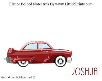 Antique Red Car Note Cards Set of 10 personalized flat or folded cards