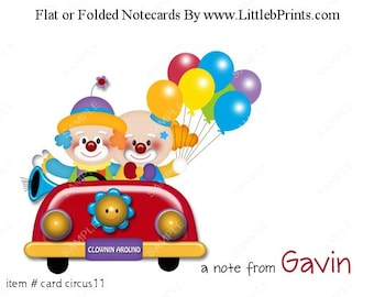 Circus Clown Car Note Cards Set of 10 personalized flat or folded cards
