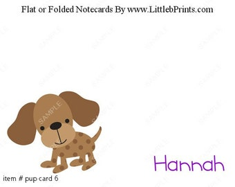 Puppy Dog Note Cards Set of 10 personalized flat or folded cards