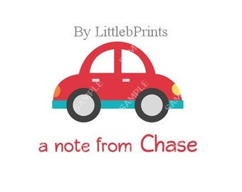 Red Car Note Cards Set of 10 personalized flat or folded cards