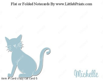 Blue Cat Note Cards Set of 10 personalized flat or folded cards