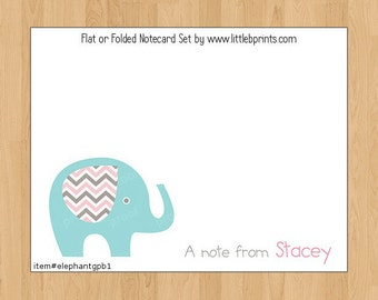 Elephant Baby Note Cards Set of 10 personalized flat or folded cards Blue Gray Pink