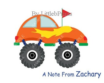 Orange Monster Truck Car Note Cards Set of 10 personalized flat or folded cards