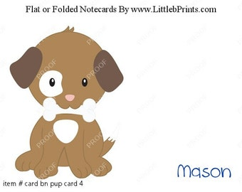 Puppy Dog Bone Note Cards Set of 10 personalized flat or folded cards