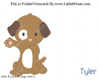 Cute Puppy Dog Wave Note Cards Set of 10 personalized flat or folded cards