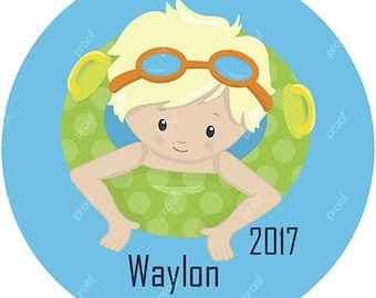Boy Swimming Pool Personalized Christmas Ornament Acrylic Snowflake or Round