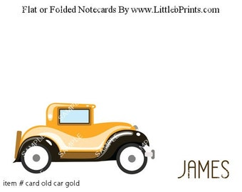 Antique Car Note Cards Set of 10 personalized flat or folded cards