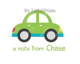 Green Car Note Cards Set of 10 personalized flat or folded cards