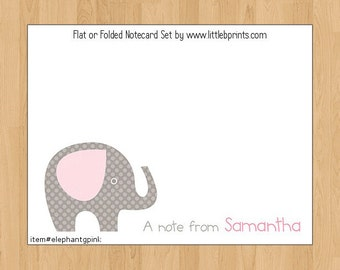 Elephant Baby Note Cards Set of 10 personalized flat or folded cards Gray Pink