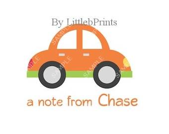 Orange Car Note Cards Set of 10 personalized flat or folded cards