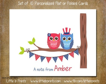 Patriotic Owls Note Cards Set of 10 personalized flat or folded cards