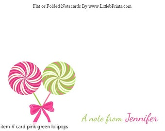 Pink Green Lolipops Note Cards Set of 10 personalized flat or folded cards