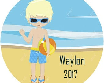 Boy Swimming Beach Personalized Christmas Ornament Acrylic Snowflake or Round