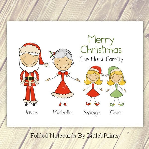 Stick Figure Family Christmas Cards Note Cards Set Of 10