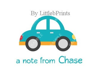 Blue Car Note Cards Set of 10 personalized flat or folded cards