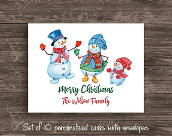 Watercolor Jolly Snowman Snowmen Personalized Note Card Set of 10 cards Stationery Notecard