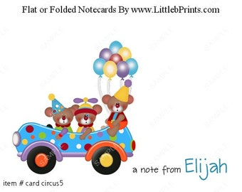 Circus Clown Bears Car Note Cards Set of 10 personalized flat or folded cards