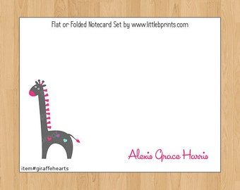 Giraffe with Hearts Note Cards Set of 10 personalized flat or folded cards