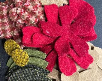 Heart Valentines Pincushion Ornament Bowl Filler Die Cut Felted Wool Kit