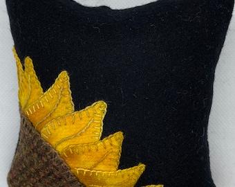 Sunflower Corner Pincushion Felted Wool Appliqué Kit
