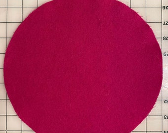 """Circle 10"""" Round Felted Wool Blank Penny Rug, Candle Mat or Sign Background Hot Pink"""