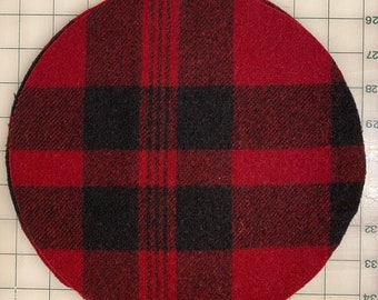 """Circle Round 10"""" Large Red Black Plaid Felted Wool Blank Penny Rug, Candle Mat or Sign Background"""
