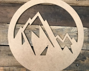 15 Multi-Layered Ski Mountain Themed Custom Name Wood Cutout Unpainted Sign 18 thick **** FREE Shipping on orders 35 USD and above ****