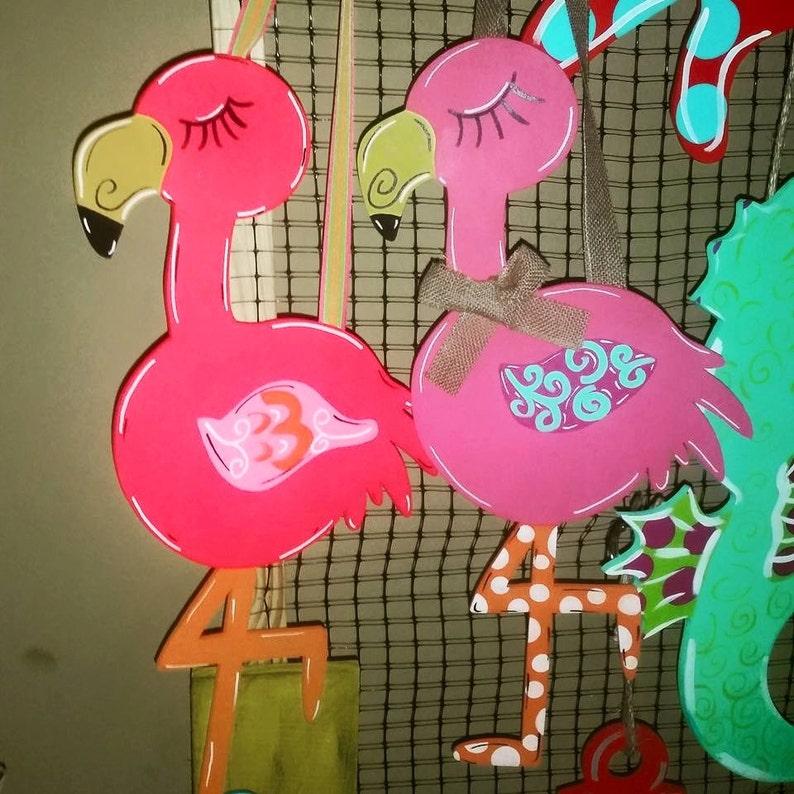 Do-It-Yourself Wooden Flamingo Cutout Paintable Flamingo Door hanger FLAMINGO Unfinished Wooden Craft Shape Wall Craft DIY Shape
