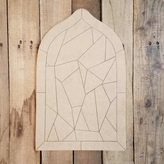 Cross Stained Glass Mosaic Wood Shape Art Window Pane DIY Unfinished Paintable Wood Wall Decor Paint by Line Engraved Cross Design