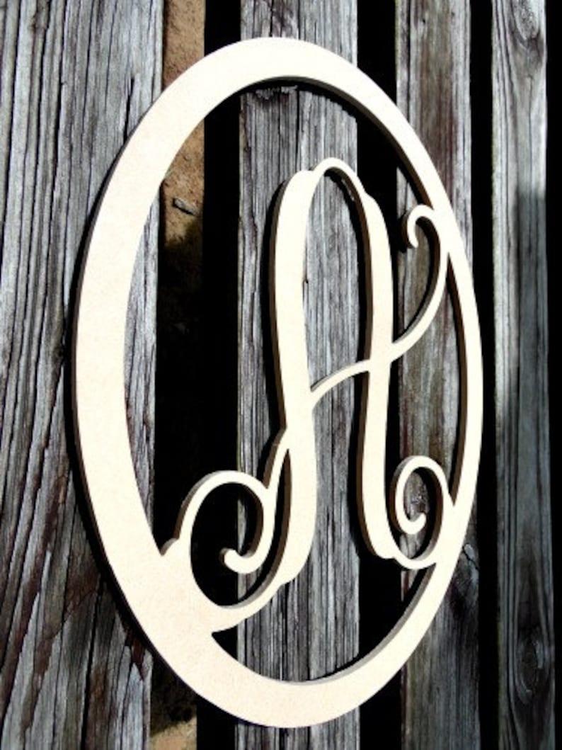 Small Wood Monogram Letter Door Hanger Framed Letter image 0