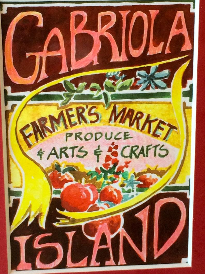 At Wednesday Farmers Market I Signed >> Farmers Market Watercolor Framed Mid Century Art Gabriola Etsy