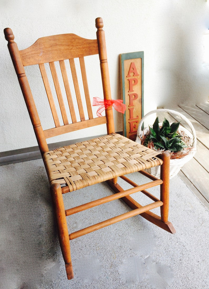 Astonishing Antique Childs Rocking Chair Woven Seat Small Rocker Vintage Oak Frame Woven Seat Rocking Chair Nursery Child Rocker Small Rocking Chair Beatyapartments Chair Design Images Beatyapartmentscom