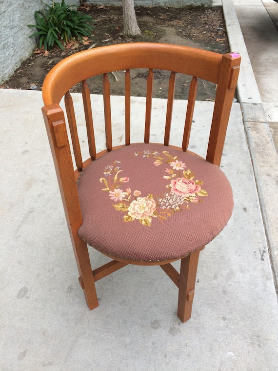 image 0 - RESERVED 4 Laura Antique Barrel Chair Round Back Needlepoint Etsy