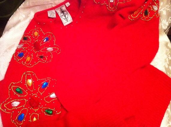 Vintage Sweater Christmas Sweater Soft Red Angora