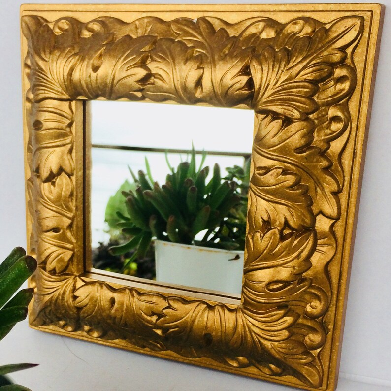 7cefff8c1d4 Syroco Wall Mirror Vintage Gold Framed Mirror Ornate French Hanging Wall  Mirror French Fleur de Lis Wall Mirror Diamond or Square Mirror
