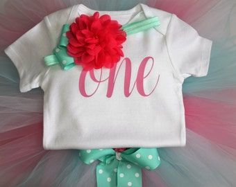 First Birthday Outfit, Birthday outfit, pink and aqua, cake smash outfit
