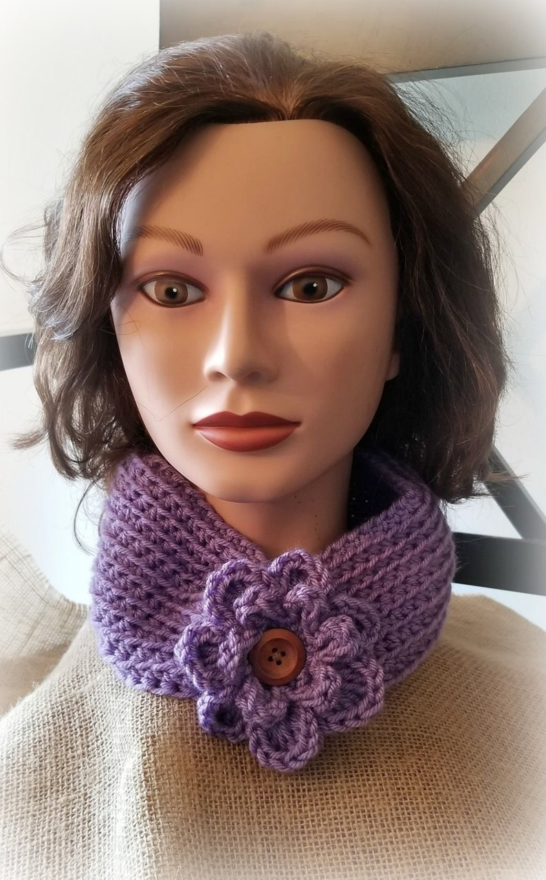 Cowl Accessories Gifts Warm Ear Warmer,Ski Headband Sage Adult Ladies Crocheted Versatile Ear Warmer with removable flower accent