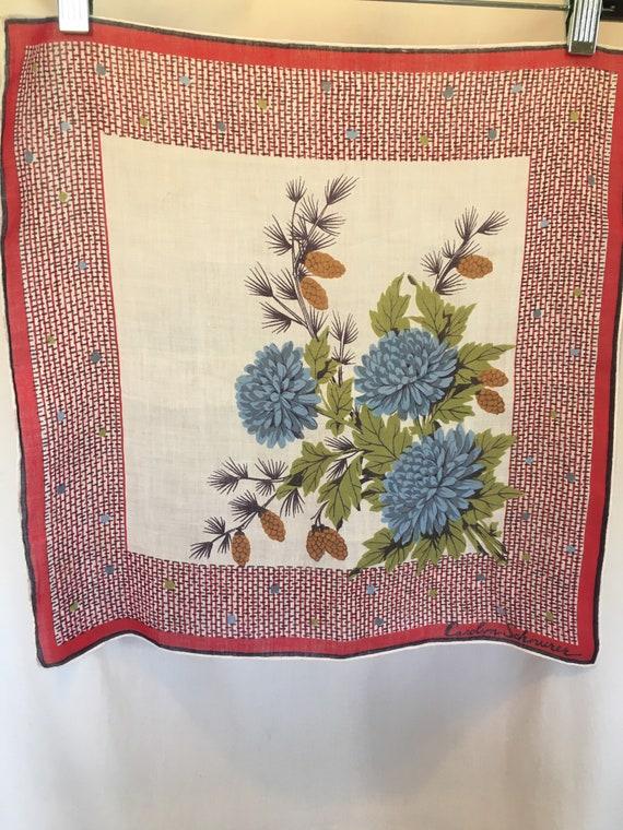 Handkerchief rare Carolyn Schnurer Pinecones and B