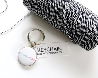 Coloradolove keychain. Key chain for Colorado lovers.