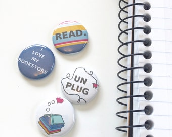 I love my bookstore buttons. I love books buttons. Pinback buttons. Book Lover Pins. Small backpack pins.