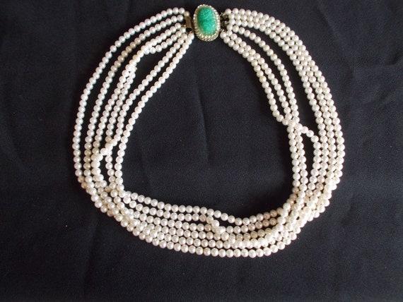 Vintage 6 Strands Faux Pearl Necklace - image 1