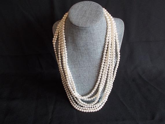 Vintage 6 Strands Faux Pearl Necklace - image 9