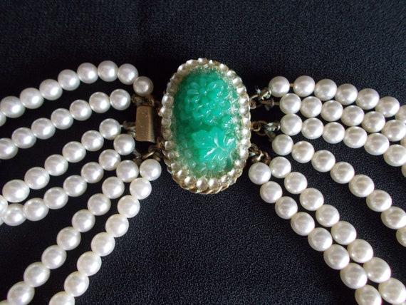 Vintage 6 Strands Faux Pearl Necklace - image 2