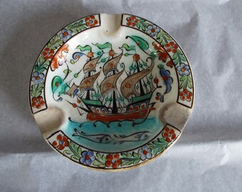 Vintage Hand Painted In Rhodes Greece  By Ikaros Decorative Small 6 x 6   Ashtray