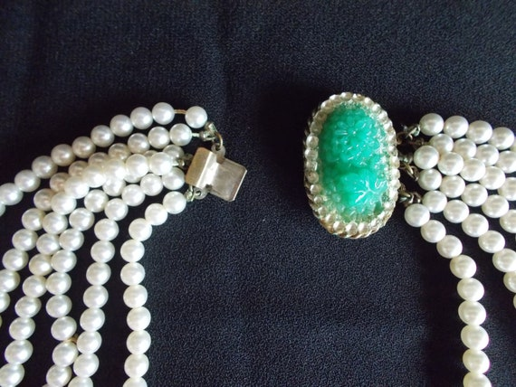 Vintage 6 Strands Faux Pearl Necklace - image 3
