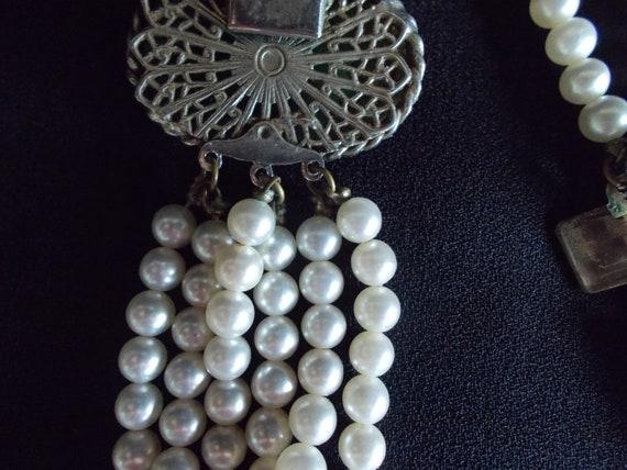 Vintage 6 Strands Faux Pearl Necklace - image 6