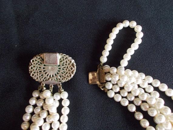 Vintage 6 Strands Faux Pearl Necklace - image 4